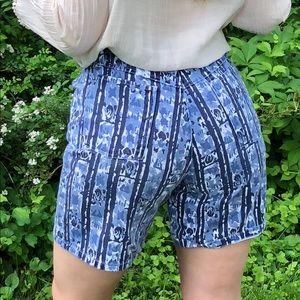 Vintage 90s High Waisted Shorts Indigo Print